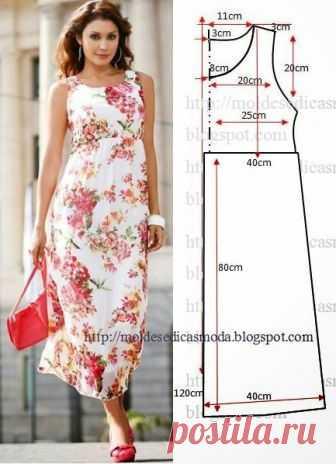 c4241c46d Vestido floral longo com o passo a passo do corte e costura Faça o ...