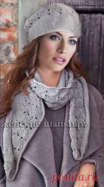 женские шапки береты шарфы спицами схемы вязания 2018 вязание