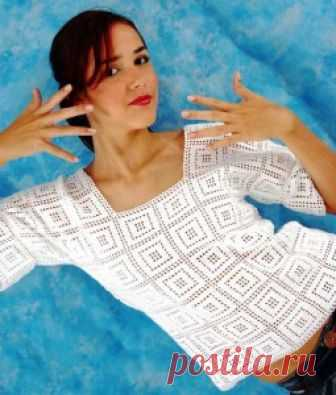 Easy white pullover in the Greek style | Knitting by spokes and a hook – the Alphabet of knitting