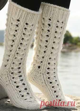 Ажурный узор для вязания носков на 5 спицах (УЗОРЫ СПИЦАМИ) — Журнал Вдохновение Рукодельницы