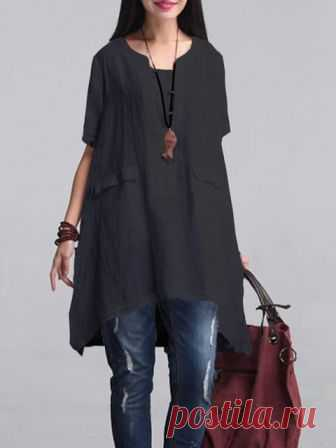1ee98760b69b Casual Solid 3 4 Sleeve Cotton Tunic Top Buy Tops For Women at  JustFashionNow.