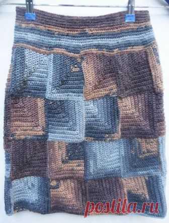 Теплая юбка в стиле пэчворк крючком – схемы вязания, выкройка описание и видео