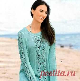 Пуловер с ажурными полосами, вязаный спицами. Описание и схемы вязания