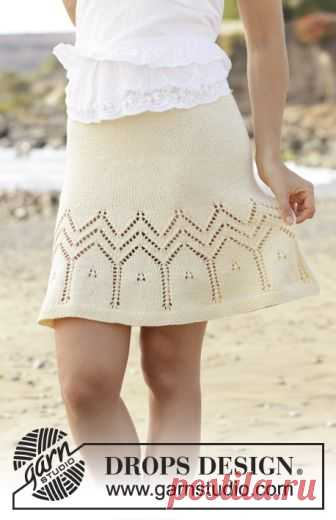 Embrace of the Sun Skirt / DROPS 190-31 - Free knitting patterns by DROPS Design Skirt with lace pattern, knitted top down. Size: S - XXXL Piece is knitted in DROPS Muskat.