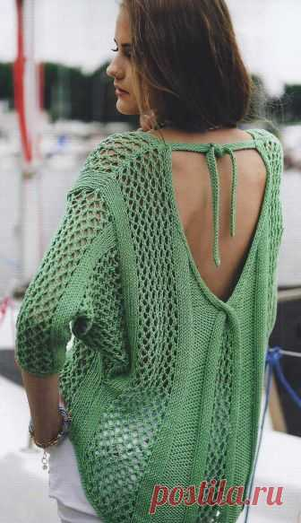 Вязание крючком и спицами - Пуловер с глубоким вырезом горловины на спинке