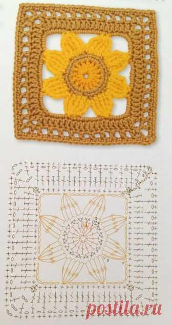 Большая подборка мотивов со схемами крючком для вязание пледов, подушек, покрывал