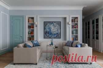 Houzz тур: Квартира с небесно-голубой гостиной А ещё — огромной семейной библиотекой, которую собирал дедушка хозяев