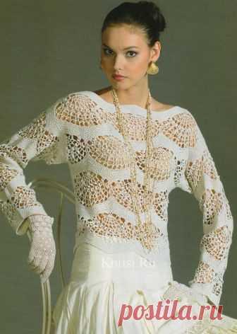 Нежная белая блузка Размер: 48 Вам потребуется:  - 300 г хлопчатобумажной пряжи «Ленок» белого цвета;  - крючок № 2 - 2,5.   Выполните выкройку деталей в натуральную величину, откорректировав по своему размеру.