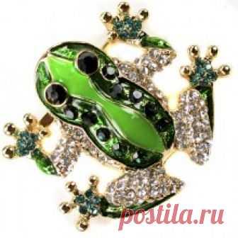 Купить брошь лягушка 351776 бижутерия в Москве