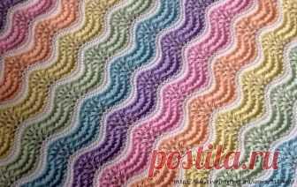 УЗОР СПИЦАМИ Красивый разноцветный волнистый узор спицами используется для пледов, пуловеров, юбок 1-й ряд: *(2 вместе... Вязание - Мой Мир@Mail.ru