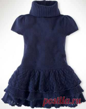 темно синее платье для девочки школьная форманапример вязание