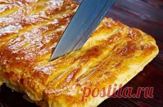 Слоеный пирог с капустой и яйцом Простой и вкусный пирог.