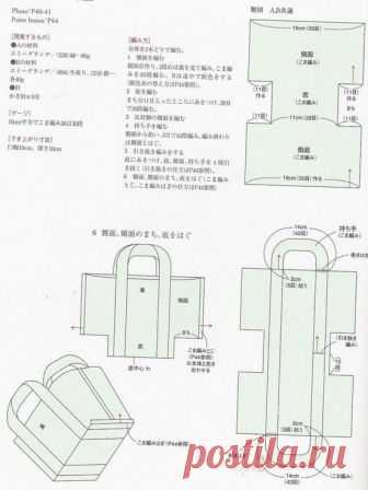 Схема простой сумки  Сумка из толстой пряжи связана крючком простым узором. Схема вязания сумки крючком