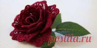 Вышиваем розу 3D. МК