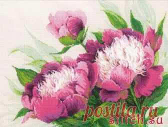 Розовые пионы. Риолис. Скачать схему вышивки крестиком — Дом крестика