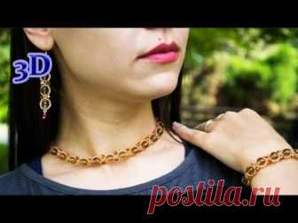 How to make Simple Exquisite Beaded Jewelry Set: Beaded Bracelet, Beaded Earrings & Necklace. Materials: - Beads (Pearls) 7mm, Peciosa Beads 10/0, Preciosa B...