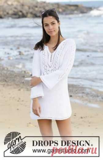 Туника Белый жемчуг Роскошная модель пляжной туники для женщин, связанной на спицах 5 мм из белого хлопка. Вязание всех деталей выполняется раздельно чулочной...