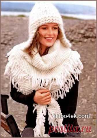 Вязание шапки с ушками и вязание шали