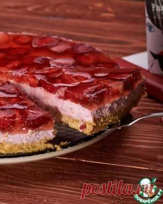Творожно-клубничный пирог а-ля чизкейк - кулинарный рецепт