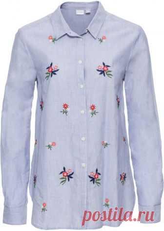 Посмотретьпрямо сейчас:  Женственная блузка рубашечного покроя марки Bodyflirt с изящной цветочной вышивкой спереди. Длина ок. 68 см (разм. 38).