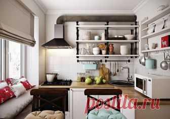Идеи обустройства кухни в малогабаритной квартире Кухня – это место, где женщина проводит большую часть своего времени. Поэтому в идеале в этой комнате все должно вызывать позитивные эмоции. Однако, не у всех на кухне имеется достаточно места для обу...