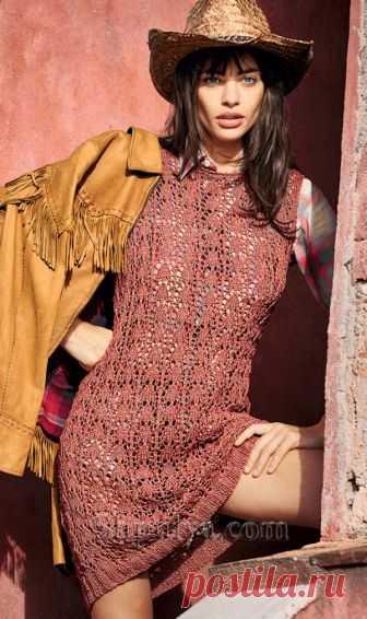 Красное платье с ажурным узором - SHPULYA.com