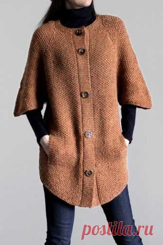 Пальто спицами. Модно и удобно.