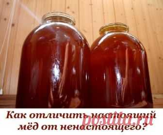 Как отличить настоящий мёд от ненастоящего?    1. Настоящий мёд засахаривается снизу, а не сверху.    2. Капля настоящего мёда, капнутая на запястье, не растекается.    3. Если мёд, налитый в бутылку, перевернуть, то всплывают два пузыря воздуха – сначала первый большой, затем второй маленький.    Если переворачивать не бутылку, а банку (литровую или трёхлитровую), то воздушный пузырь должен быть один. Если всплывают еще несколько маленьких пузырей – мёд ненастоящий.    4....