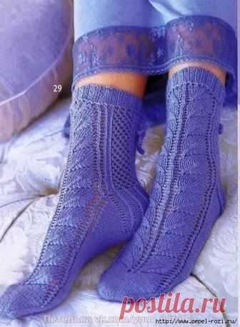 Легкие ажурные носочки приятного сиреневого цвета на лето!