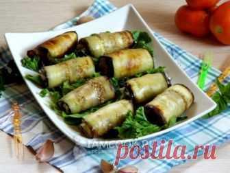 Рулеты из баклажанов с сыром и чесноком — рецепт с фото