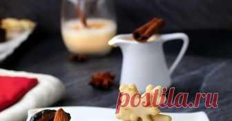 """Шоколадово """"паве"""" със сушени сливи и канелено - ванилов сос"""