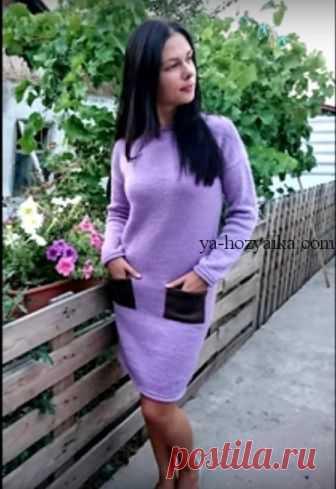 46e11bf7d34 Платье спицами с карманами. Платье спицами осень -зима 2019 Платье спицами  с карманами.