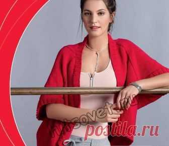 Широкий жакет спицами - Хитсовет Широкий жакет спицами. Модная модель широкого жакета для женщин связанного поперек спицами с пошаговым бесплатным описанием вязания.