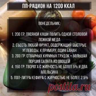 Меню на 1200 калорий в день  примерный пп рацион питания из простых  продуктов и диета 689a68d71f4