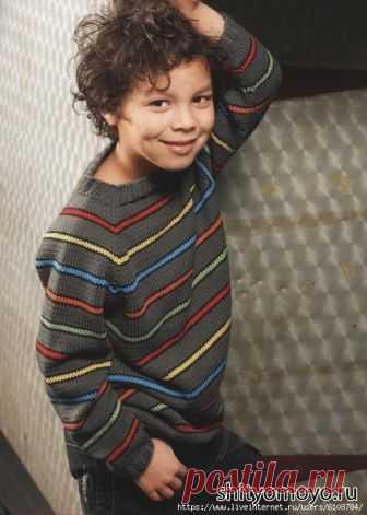 Детский пуловер с разноцветными полосами