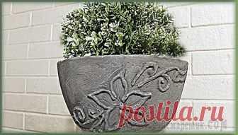 Роспись бетоном. Лепим вазон своими руками из бетона Лепим отличное украшение для сада или дачи вазон из бетона своими руками расписываем его бетоном.