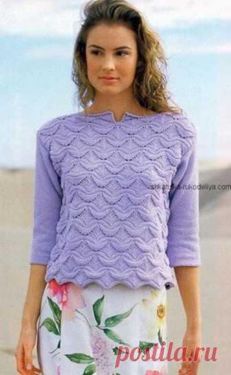 Пуловер с волнистым узором Пуловер с волнистым узором спицами. Пуловер с рукавом 3\4 спицами