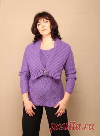 Вязание крючком и спицами - Пуловер узором рельефные ромбы