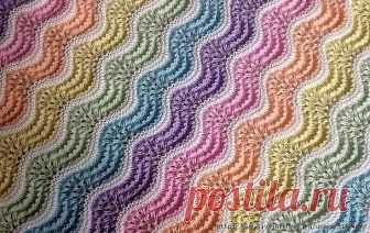 УЗОР СПИЦАМИ   Красивый разноцветный волнистый узор спицами используется для пледов, пуловеров, юбок 1-й ряд: *(2 вместе лиц.) – 6 раз, (накид, 1 изн.) – 6 раз, повторять от *. 2-й ряд: лиц. петли. 3-й ряд: изн. петли. 4-й ряд: лиц. петли. 5-8 ряды: повторить 1-4 ряды. 9-11 ряды: повторить 1-3 ряды. Поменять цвет нити. 12-14 ряды: лиц. петли. Поменять цвет нити.  Повторять 1-14 ряды для узора