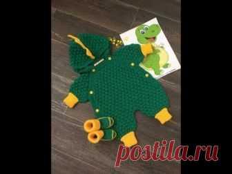 детский вязанный комбинезон спицами мультяшный дракончик мк