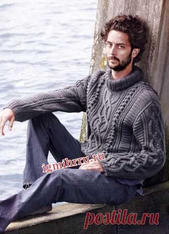 Мужской серый свитер с миксом узоров. Вязание спицами для мужчин