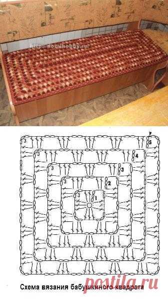 Вязание чехла на сиденье. На основе вязания простого бабушкиного квадрата можно связать чехол на любое сиденье или табурет. .