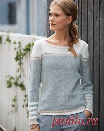 Джемпер с полосками - схема вязания спицами. Вяжем Джемперы на Verena.ru