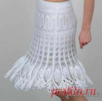 Красивая белая ажурная юбка крючком. Схемы