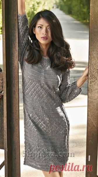 Серое платье с ажурным узором - SHPULYA.com