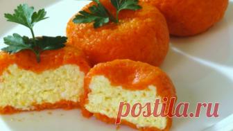 Новогодняя сырная закуска «мандаринки» — красиво и вкусно!