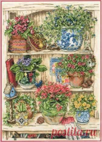 Садовые штучки. Схема вышивки крестиком — Дом крестика