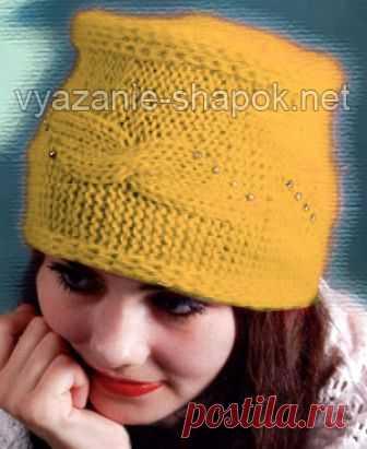 Шапка женская связанная спицами поперек Для вязания этой шапочки вам потребуется пряжа Ангора — 90 г , спицы №4 и крючок №2.