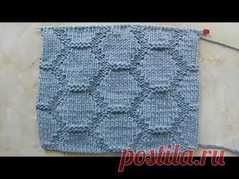 Рельефный узор крупными сотами Вязание спицами Видеоурок 156