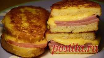 Быстрый перекус для ленивых за 10 минут: «Бутерброды на сковороде с колбасой и сыром»